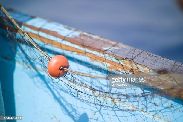 Fishing with trammel net Amalfi Coast Gulf of Salerno Campania Italy