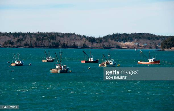 Fishings boats are moored off the shore onMarch 3 2017 in Lubec Maine Lubec is the easternmost town in the contiguous United States with a border...