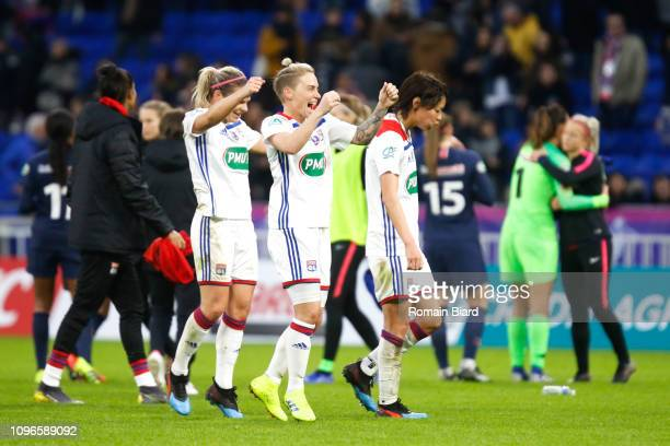 Fishlock Jessica Anne of Lyon and Le Sommer Eugenie of Lyon and Kumagai Saki of Lyon during the Women's French Cup match between Lyon and Paris Saint...