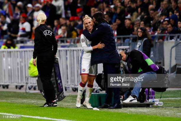 Fishlock Jessica Anne of Lyon and Pedros Reynald coach of Lyon during the Women's Champions League match between Lyon and Wolfsburg on March 20 2019...
