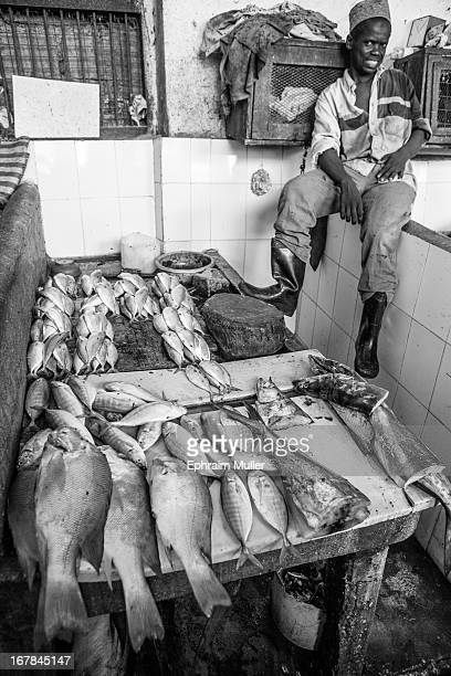 "Fishmonger in Stone Town sits on a wall in the indoor fish market with his ""fresh"" catches of the day laid out on his seller's table"