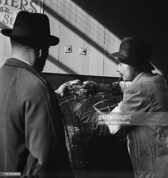 A fishmonger shows a crab to a man at a food market in London UK circa 1948