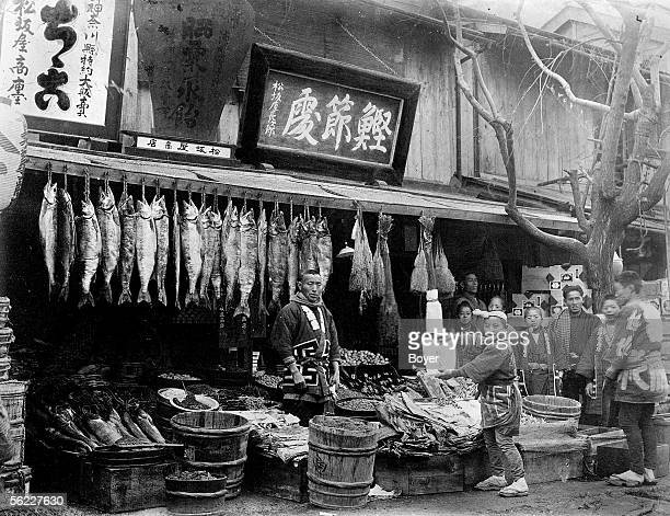Fishmonger smoked and salted in Kanagawa's region Japan 1930