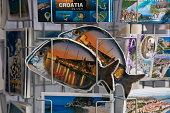 fishshaped postcards for sale at souvenir