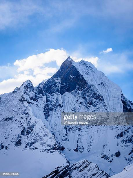 fishtail mountain from annapurna base camp, nepal - machapuchare stock photos and pictures