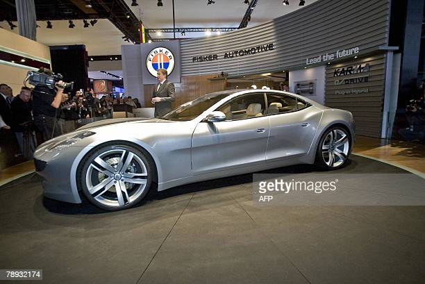 Fisker Automotive introduces its new plugin hybrid the Karma during a press conference at the 2008 North American International Auto Show in Detroit...