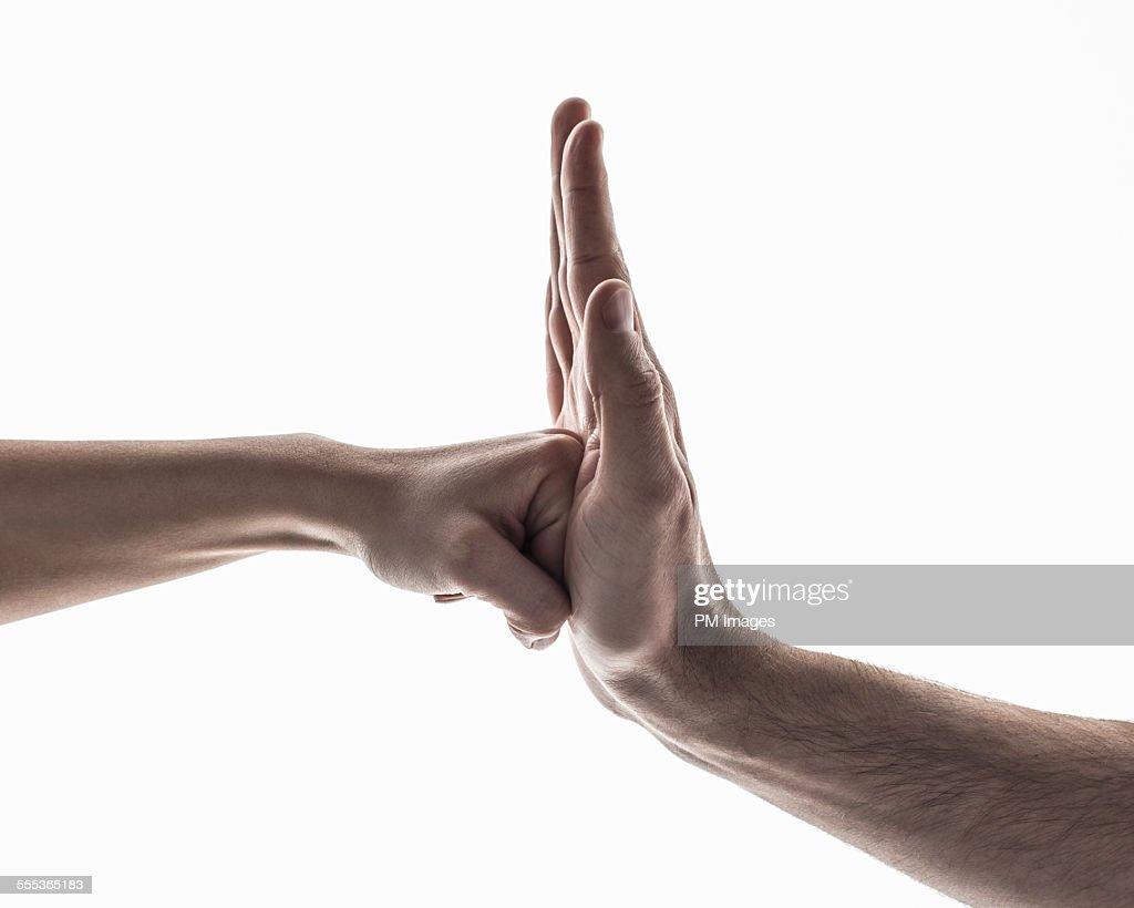 Fist into Palm : Foto de stock