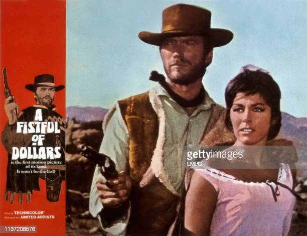 A Fistful Of Dollars lobbycard from left Clint Eastwood Marianne Koch 1964