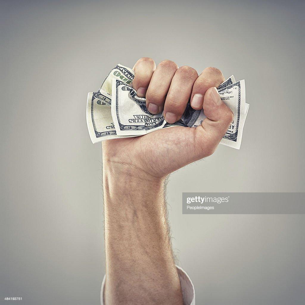 Fistfull of dollars! : Stock Photo