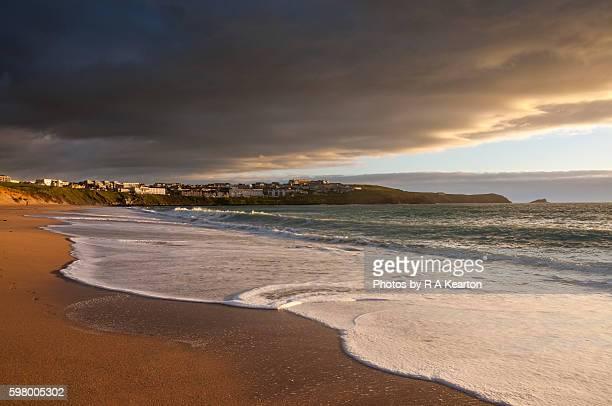 Fistral beach at sunset, Newquay, Cornwall