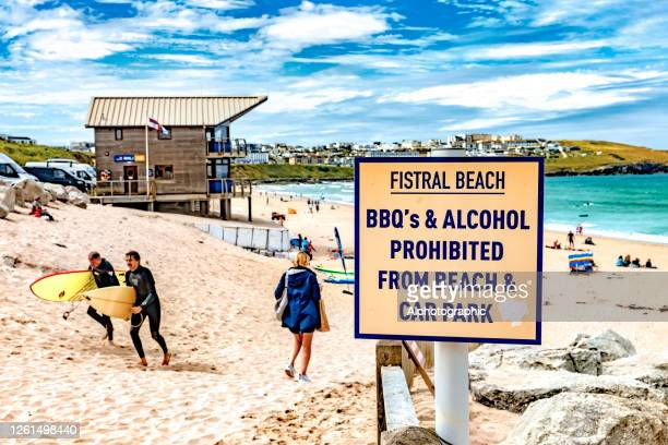 fistral beach sign - newquay stock pictures, royalty-free photos & images