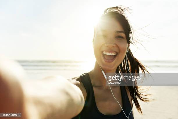 fit and healthy - selfie stock pictures, royalty-free photos & images
