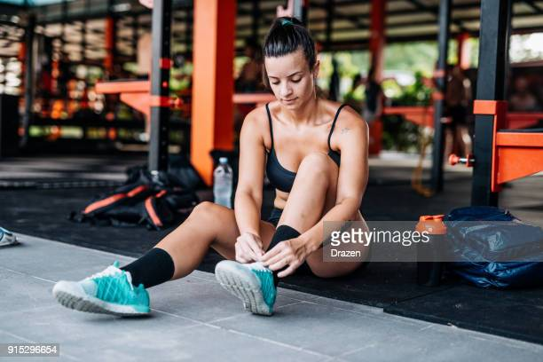 Fit and healthy woman getting ready for the training