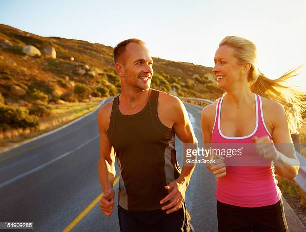 Fit couple going for run