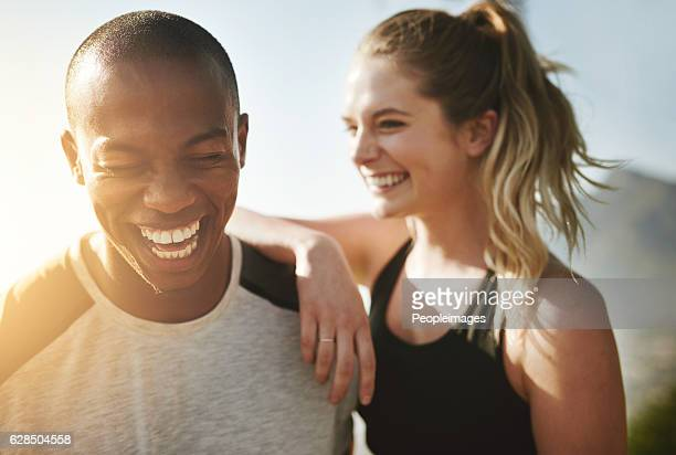 fit couple relationship goals - black people laughing stock photos and pictures