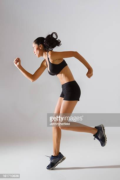 Fit Female In Sports Bra And Shorts Jogging