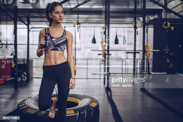 Fit girl in gym
