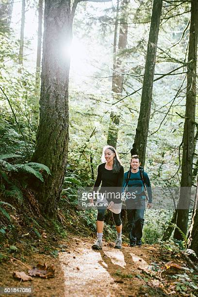 Fit Mature Adults on Forest Hike
