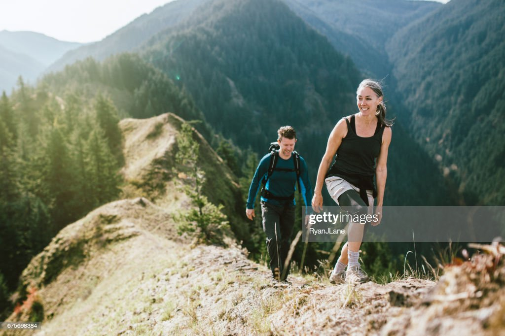 Fit Mature Couple on Mountain Hike : Stock Photo