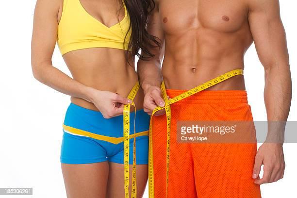 フィットする胴体男性と女性の測定ウエスト