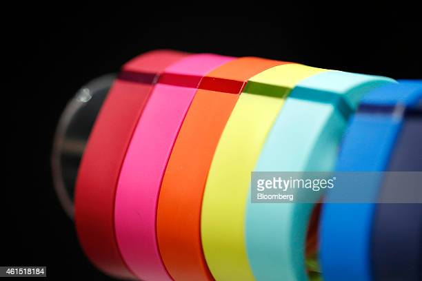 Fitbit Inc's Fitbit Flex wireless activity and sleep wristband sit on display at the Wearable Expo in Tokyo Japan on Wednesday Jan 14 2015 The world...