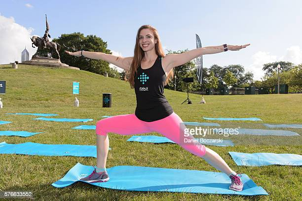 Fitbit Local Ambassador Jenny Finkel poses during the launch of Fitbit Local Free Community Workouts In Chicago at Grant Park on July 16 2016 in...