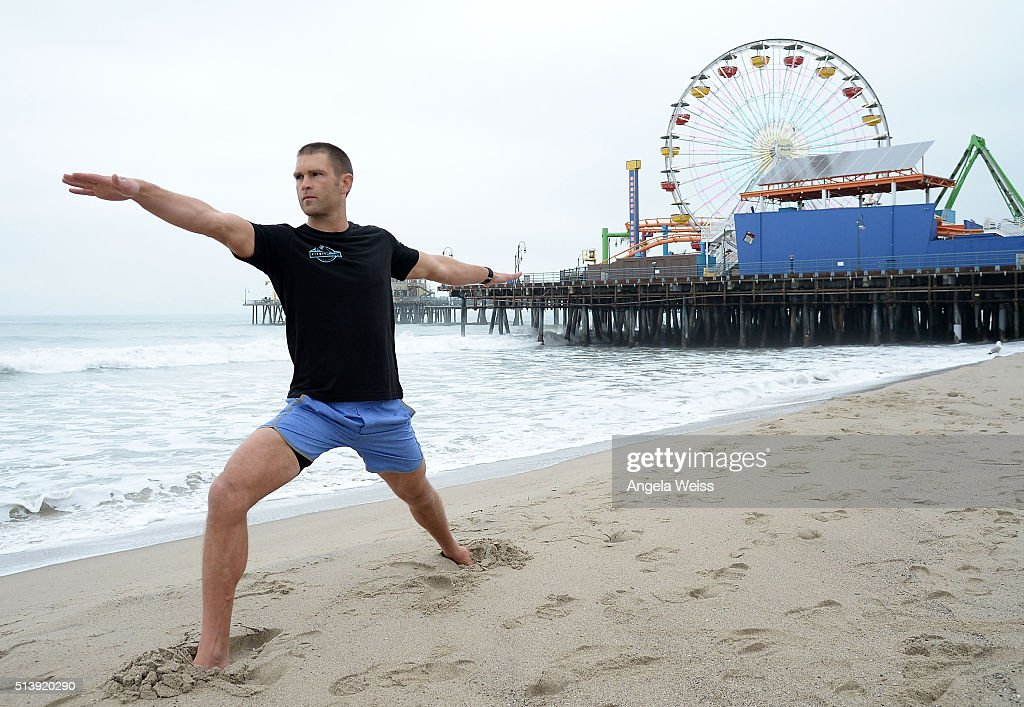 Fitbit Local Ambassadors Todd McCullough poses for pictures as Fitbit Local Los Angeles launches with a free event at Santa Monica Pier on March 5, 2016 in Santa Monica, California.