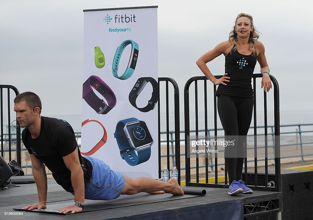 Fitbit Local Los Angeles launches with a free event on the Santa Monica Pier. Fitbit Local Ambassadors Elise Joan & Todd McCullough lead participants in a bootcamp and yoga workout at Santa Monica Pier on March 5, 2016 in Santa Monica, California.