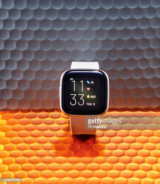 Fitbit Versa 2 smartwatch, taken on March 11, 2020.