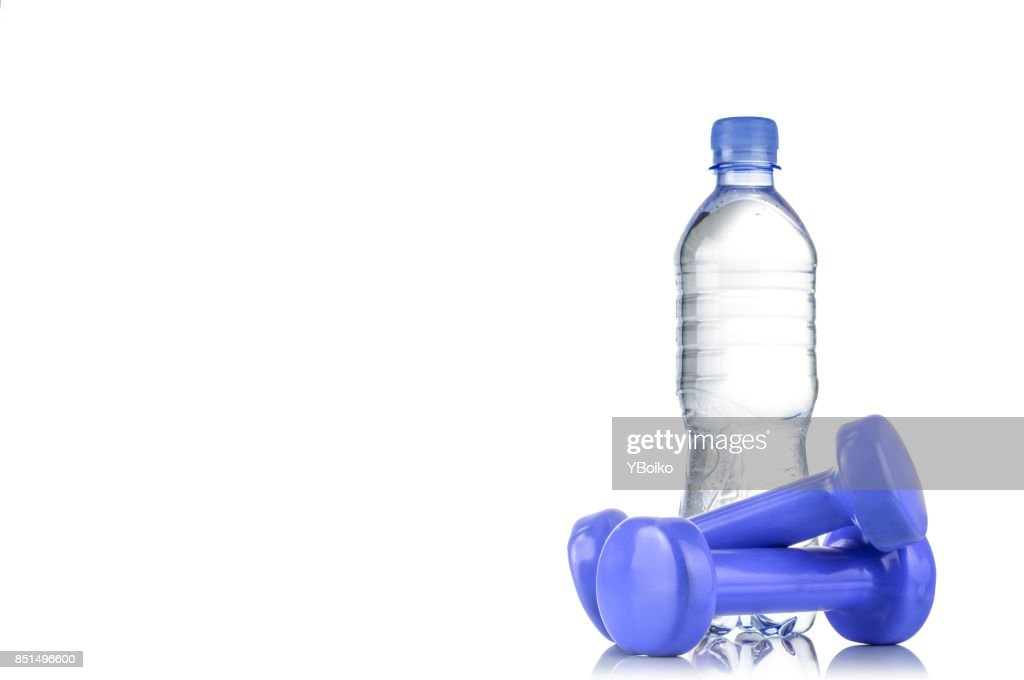 Fitnes Symbols Blue Dumbbells A Bottle Of Water And A Towel The
