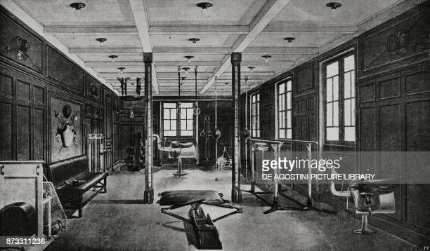 Fitness and fencing room on the Italian steamer Duilio drawing from L'Illustrazione Italiana Year XLIII No 13 March 26 1916