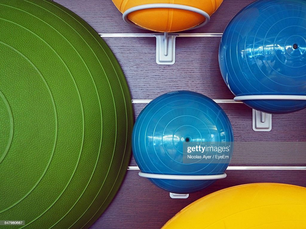 Fitness Balls Arranged In Gym : Stock Photo