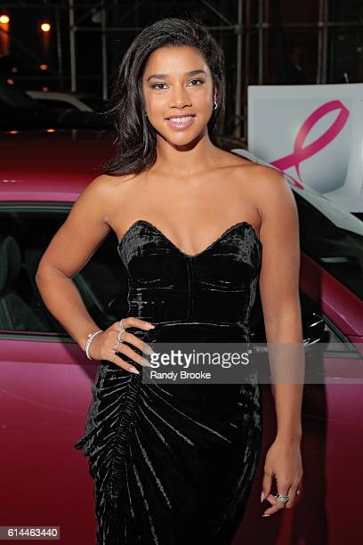 DJ Fitness Blogger Hannah Bronfman poses outside during The Pink Agenda 2016 Gala arrivals at Three Sixty on October 13 2016 in New York City