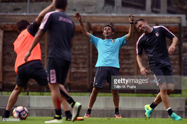 Fitness coach Andrea Rinaldi in action during a training session at US Citta' di Palermo training base on July 23 2016 in Bad Kleinkirchheim Austria