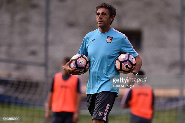 Fitness coach Andrea Rinaldi looks on during a training session at US Citta' di Palermo training base on July 23 2016 in Bad Kleinkirchheim Austria