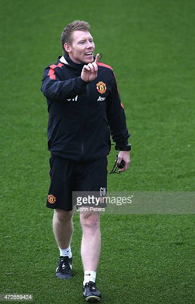 Fitness coach Gary Walker of Manchester United in action during a first team training session at Aon Training Complex on May 8 2015 in Manchester...