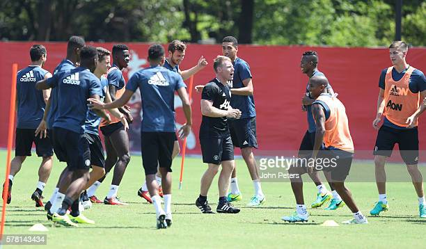 Fitness coach Gary Walker of Manchester United in action during a first team training session as part of their preseason tour of China at Century...