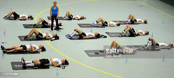 Fitness coach Gesine Ratajczyk is seen during a German Women National Team training session at NetCologne Stadium on April 20 2011 in Cologne Germany