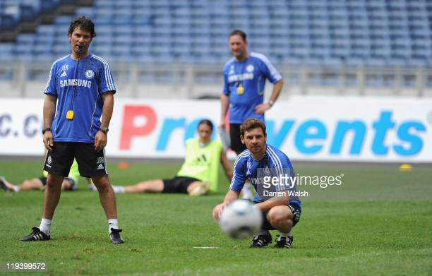 Fitness Coach Jose Mario Rocha and Chelsea manager Andre Villas-Boas during a training session at the Bukit Jalil National Stadium on July 20, 2011...