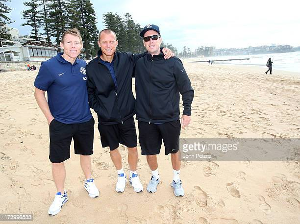 Fitness coaches Gary Walker Richard Hawkins and Tony Strudwick of Manchester United visits Manley Beach as part of their preseason tour of Bangkok...