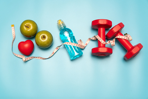 Fitness equipment. Healthy food. water,apple - gettyimageskorea