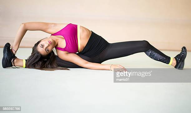 fitness exercise - fat belly girl stock photos and pictures