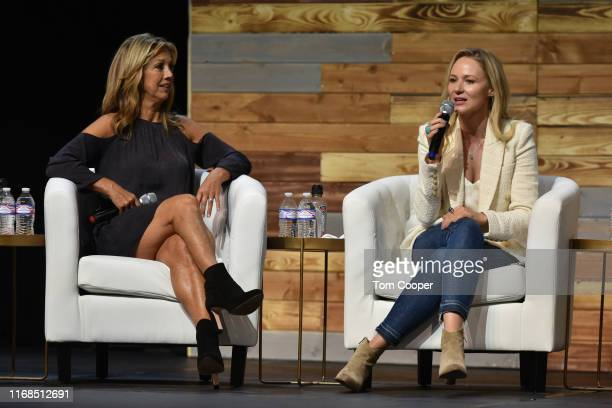 Fitness expert Denise Austin and Singer-songwriter Jewel on stage during the first day of the Wellness Your Way Festival at the Colorado Convention...