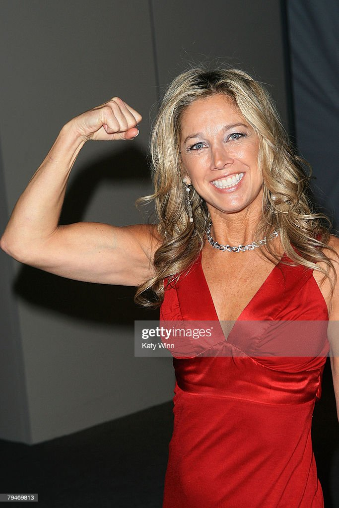 Fitness expert Denise Austin poses at the fashion tents in Bryant Park during Mercedes-Benz Fashion Week Fall 2008 on February 1, 2008 in New York City.