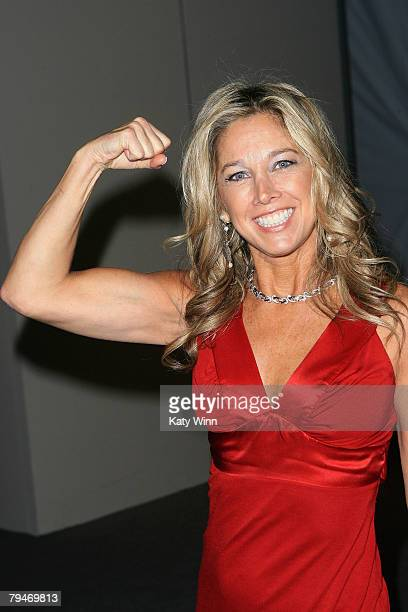 Fitness expert Denise Austin poses at the fashion tents in Bryant Park during MercedesBenz Fashion Week Fall 2008 on February 1 2008 in New York City