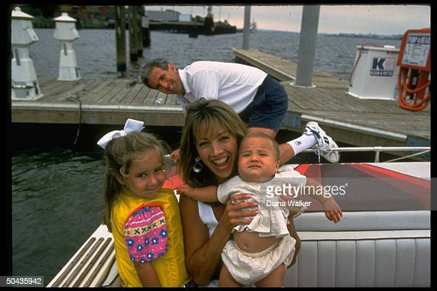 Fitness expert Denise Austin w. Sports attorney husband Jeff, daughter Kelly & daughter Katie, 7-mos., onboard their 24-foot powerboat on Potomac...