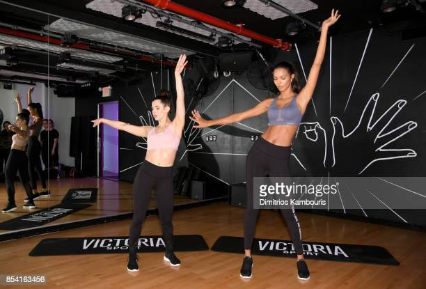 Fitness founder Sadie Kurzban and VS Angel Lais Ribeiro attend 'Train Like A Victoria's Secret Angel' at 305 Fitness on September 26 2017 in New York...