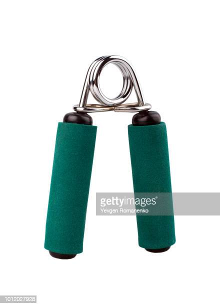 fitness gear hand grip isolated on white background - objet quotidien photos et images de collection