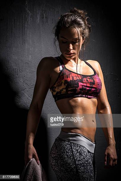 fitness girl - black female bodybuilder stock photos and pictures