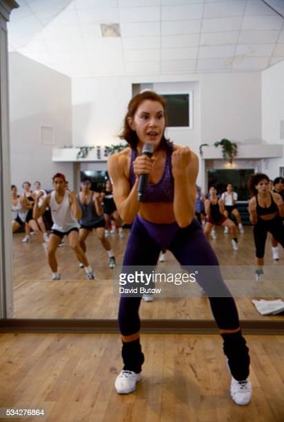 Fitness Guru Karen Voight Leading Aerobics Class